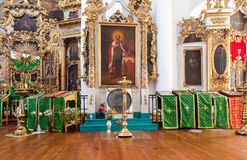 Interno della chiesa del fronte santo nel villaggio Mlevo Fotografie Stock
