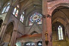 Interno della chiesa della basilica di Quito Fotografia Stock Libera da Diritti