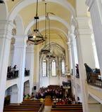 Interno della chiesa di Aiud Immagine Stock