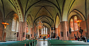 Interno della chiesa di Mary's del san in Sigtuna Fotografia Stock Libera da Diritti