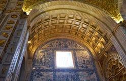 Interno della chiesa di Nossa Senhora da Nazare con i azulejos Immagine Stock Libera da Diritti