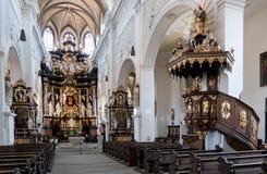 Interno della chiesa Ober Pharkirche con l'altare barrocco in Bamerg Immagine Stock Libera da Diritti