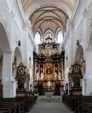 Interno della chiesa Ober Pharkirche con l'altare barrocco in Bamerg Fotografia Stock