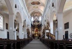 Interno della chiesa Ober Pharkirche con l'altare barrocco in Bamerg Fotografie Stock Libere da Diritti