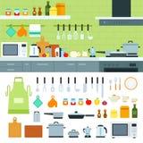 Interno della cucina con i dispositivi del moder Immagini Stock Libere da Diritti