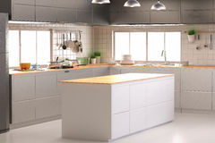 Interno della cucina con il contatore vuoto Fotografia Stock