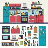 Interno della cucina con mobilia moderna Fotografia Stock Libera da Diritti