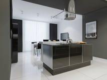 Interno della cucina di stile di minimalismo nei toni monocromatici Fotografia Stock