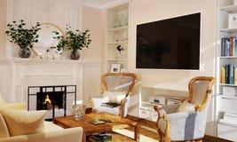 Interno della cucina e del salone nello stile della Provenza con mobilia bianca fotografie stock