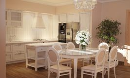 Interno della cucina e del salone nello stile della Provenza con mobilia bianca fotografie stock libere da diritti