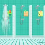 Interno della doccia alla società polisportiva Docce del pubblico Fotografia Stock Libera da Diritti