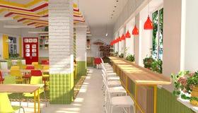 Interno della mensa del ` s degli scolari visualizzazione 3D di sala da pranzo per gli scolari Fotografia Stock