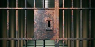 Interno della prigione Primo piano arrugginito bloccato della porta, fondo scuro illustrazione 3D illustrazione vettoriale