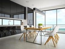 Interno della rappresentazione della sala 3D di progettazione moderna Fotografie Stock