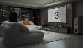 Interno della rappresentazione della sala 3D di progettazione moderna Immagine Stock Libera da Diritti