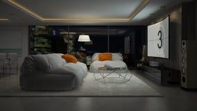 Interno della rappresentazione della sala 3D di progettazione moderna Fotografia Stock Libera da Diritti