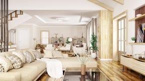 Interno della rappresentazione moderna della casa 3d Immagine Stock