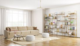Interno della rappresentazione moderna del salone 3d Fotografia Stock