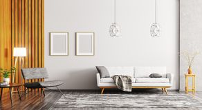 Interno della rappresentazione moderna del salone 3d Immagine Stock