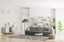 Interno della rappresentazione moderna dell'appartamento 3d Fotografia Stock