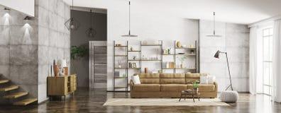 Interno della rappresentazione moderna di panorama 3d dell'appartamento Fotografia Stock