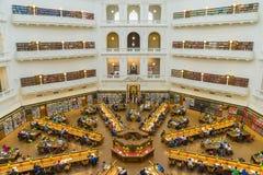 Interno della sala di lettura di Trobe della La della biblioteca di stato di Victoria a Melbourne Fotografie Stock