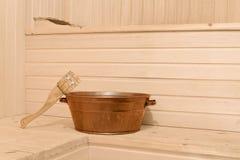 Interno della sauna Fotografie Stock Libere da Diritti