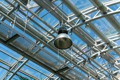 Interno della serra in giardino con il tetto di vetro trasparente fotografie stock libere da diritti