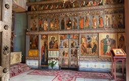 Interno della st Sophia Cathedral in Veliky Novgorod fotografia stock libera da diritti