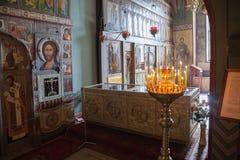 Interno della st Sophia Cathedral in Veliky Novgorod immagine stock