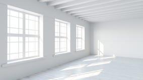 Interno della stanza bianca con la parete in bianco Fotografie Stock