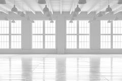 Interno della stanza bianca, modello dello spazio aperto Fotografie Stock