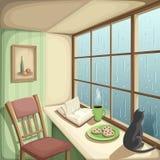Interno della stanza con una grandi finestra e pioggia fuori di  Illustrazione di vettore illustrazione di stock