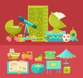 Interno della stanza dei bambini ed illustrazioni dell'insieme di elementi due Immagine Stock