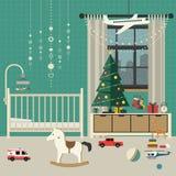 Interno della stanza del bambino di Natale fotografia stock libera da diritti