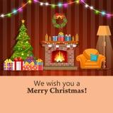 Interno della stanza del camino di Natale Immagine Stock