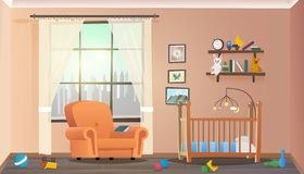 Interno della stanza di bambini di concetto dell'illustrazione di vettore royalty illustrazione gratis
