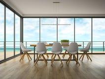 Interno della stanza di progettazione moderna con la rappresentazione di vista 3D del mare Immagini Stock Libere da Diritti