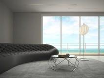 Interno della stanza di progettazione moderna con la rappresentazione di vista 3D del mare Fotografie Stock Libere da Diritti