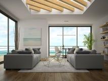 Interno della stanza di progettazione moderna con la rappresentazione di vista 3D del mare Immagine Stock