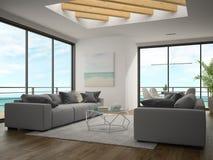 Interno della stanza di progettazione moderna con la rappresentazione di vista 3D del mare Immagine Stock Libera da Diritti