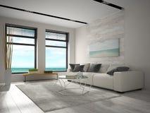 Interno della stanza di progettazione moderna con la rappresentazione di vista 3D del mare Fotografia Stock Libera da Diritti