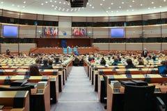 Interno della vista moderna della sala per conferenze attraverso una finestra Fotografia Stock Libera da Diritti