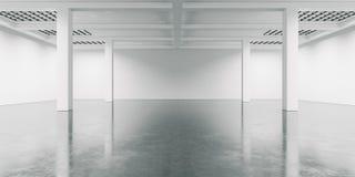 Interno dello spazio aperto con il pavimento di calcestruzzo 3d rendono Immagini Stock