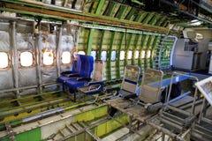Interno di Boeing 747 spogliato Fotografia Stock
