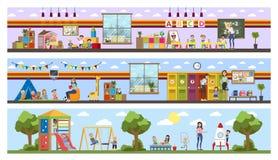 Interno di costruzione della scuola materna o di asilo con i bambini illustrazione di stock