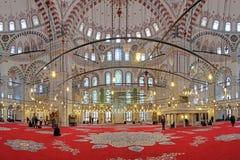 Interno di Fatih Mosque a Costantinopoli, Turchia Fotografie Stock Libere da Diritti