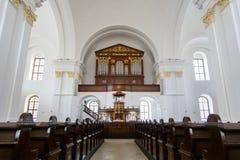 Interno di grande chiesa riformata di Debrecen Fotografia Stock