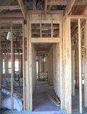 Interno di grande nuova casa in costruzione Fotografia Stock Libera da Diritti