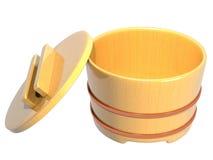 Interno di legno aperto del contenitore giapponese del riso fotografia stock libera da diritti
